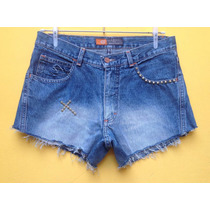 Short Jeans Feminino Curto Destroyed Spikes Hotpants 38/40