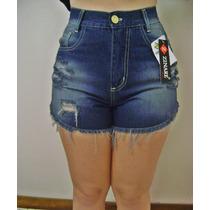 Short Feminino 2014/15 Cintura Alta Jeans Destroyed(rasgado)