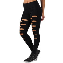 Calça Legging Fitness Suplex Feminina Rasgada Em Poliamida