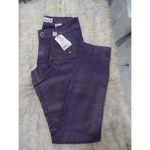 Calça Jeans Resinada Roxa Skinny Optimist