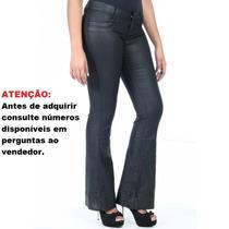 Calça Sawary Jeans Resinada Feminina Flare (234495)
