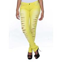 Sawary Calça Jeans Feminina Amarela Legging