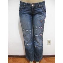 Calça Jeans Tam 40 Bordada Flor Ótimo Estado
