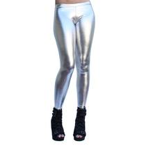 Calça Legging Cirrê Metalizado Prateado