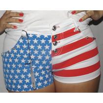 Short Jeans Com Lycra Bandeira Eua Frete Grátis