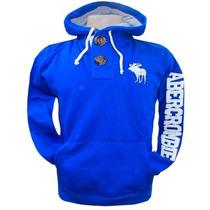Blusa De Moletom Abercrombie Azul Ryal Afj Original
