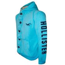 Blusa De Moletom Hollister Azul Claro Botão Hlj Original