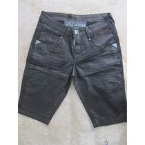 Bermuda Masculina Em Jeans Resinado Pit Bull Pitbull Jeans!