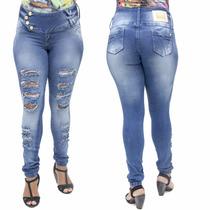 Calça Jeans Feminina Deerf Rasgada Legging Levanta Bumbubm