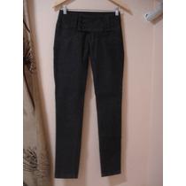 Calça Jeans Escura 36 Skinny Lisa Brim Cintura Baixa Reta
