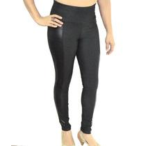 Calça Legging Cotton Jeans C/ Bolsos Atrás Detelhes Em Cirre