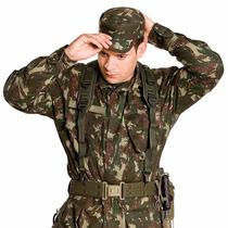 Farda Camuflada Exército Lisa Velcro Em Todos Os Bolsos