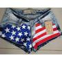 Short Jeans Azul Com A Bandeira Dos Estados Unidos.