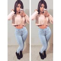 Calça Short Jeans Cintura Alta Juju Elastano Pronta Entrega