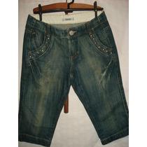 Bermuda Jeans Com Tachas Da Marisa Tam 36