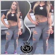 Calça Legging Rasgada/giletada Fitness Academia