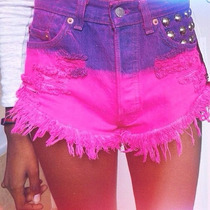 Short Jeans Customizado Detonado Destroyed Hot Pant Colorido