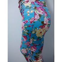 Calça Feminina Estampa Floral Com Elastano Levanta Bumbum