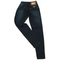 Calça Jeans Linda Z Cós Largo 3 Botoes 1 De Strass Strech