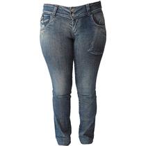 Calça Jeans C/ Lavagem Trincada 38 Ao 54 (tamanhos Grandes)
