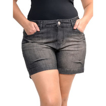 Short Bermuda Black Jeans Preto Moda Grande Plus Size Núm 54