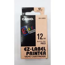 Fita P/ Etiquetadora Casio Xr12mm Original Preto No Vermelho