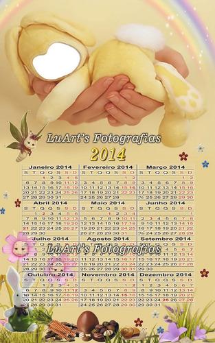 Calendários Infantis 2014 Editáveis Para Photoshop