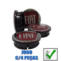 Jg Calotinha Calota Miolo Roda Emblema Relevo Fiat Vermelho