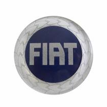 Calotinha Centro De Roda Emblema Fiat 49,6mm Logo Azul