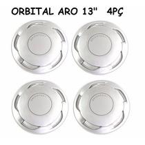 Jogo Calota Orbital Aro 13 Prata - Fixação Pressão - Gol Vw
