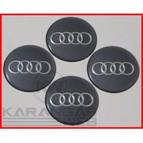 Jg Emblemas Adesivo Calota Miolo Tampa Roda Audi 51mm- 4 Pçs