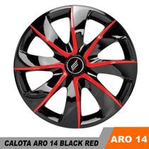 Calota Esportiva Hb20 Chevette Aro 14 Black Red Universal