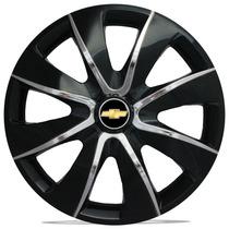 Jogo Calota 13 Prime Black Chrome Celta Corsa Prisma Classic