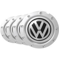 Jogo Calota Centro Miolo Roda Audi Rs-4 Pintada Com Emblema