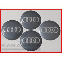 Jg Emblemas Adesivo Calota Miolo Tampa Roda Audi 117mm-4 Pçs