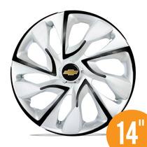 Calota Esportiva 14 Ds4 White Black P/ Gm Corsa Prisma Celta