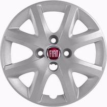 Jogo De Calotas Aro 14 P/ Fiat Siena Fire 2014 + Emblema