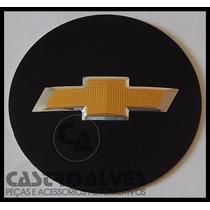 Emblema Adesivo Centro Roda Gm Original 55 Mm Preto/dourado