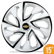 Calota Esportiva 15 Ds4 Branca Preta Onix Novo Prisma Spin