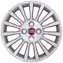 Jogo Calota Aro 15 Fiat Punto Com 15 Raios Emblema Fiat 3d