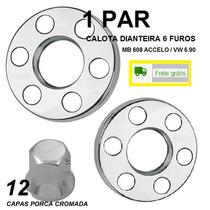 Kit Par Calota Dianteira Caminhão 6 Furos + Capas Cromadas