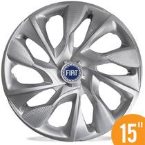 Calota Esportiva 15 Ds4 Silver Fiat Doblô Idea Marea Punto A
