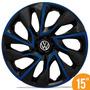 Calota Esportiva 15 Ds4 Black Blue Vw Fox Polo Golf 5 Furos