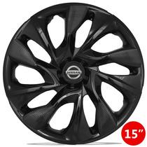 Calota 15 Ds4 Black Preta Nissan Tiida Versa Sentra Livina