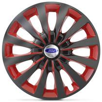 Jogo Calota Aro 13 Black Red Ford Ka Fiesta Escort - 4 Peças