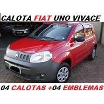 Calotas Aro 13 ( 04 Peças )p/ Fiat Uno Vivace 2011 +emblemas