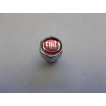 Jogo De Bico De Pneu C/ Antifurto Emblema Fiat Vermelho