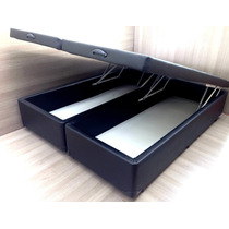 Cama Box Baú Queen 1,58x1,98 Corino Preto
