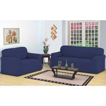 Capa Para Sofa 3 E 2 Lugares Belissima . Strech - Azul