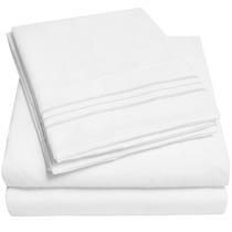 Leçol De Luxo 100% Microfibra Branco De Cama King 1500 Fios
